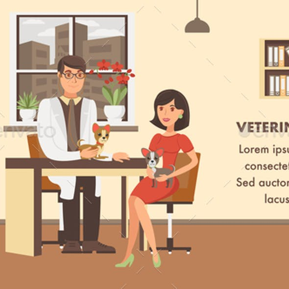 Veterinary Checkup Banner Color Vector Template