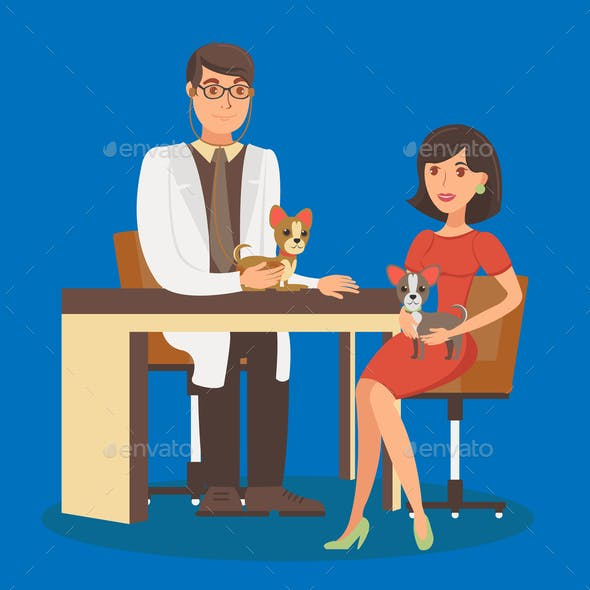 Veterinarian Appointment Vector Flat Illustration