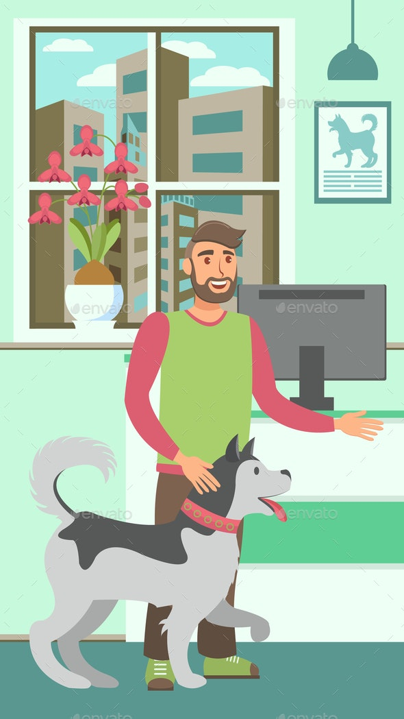 Veterinary Clinic Flat Vector Color Illustration - People Characters