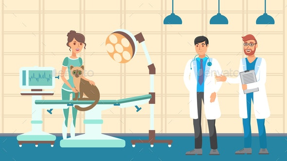 Vet Appointment Flat Vector Color Illustration - Animals Characters
