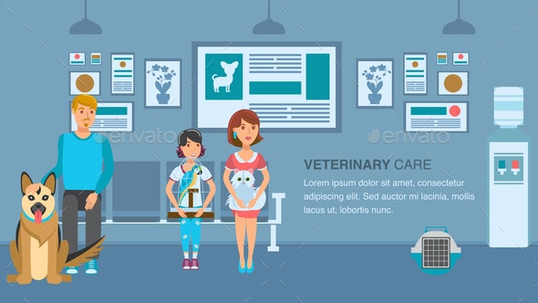 Vet Clinic Queue Banner Vector Color Template - Animals Characters