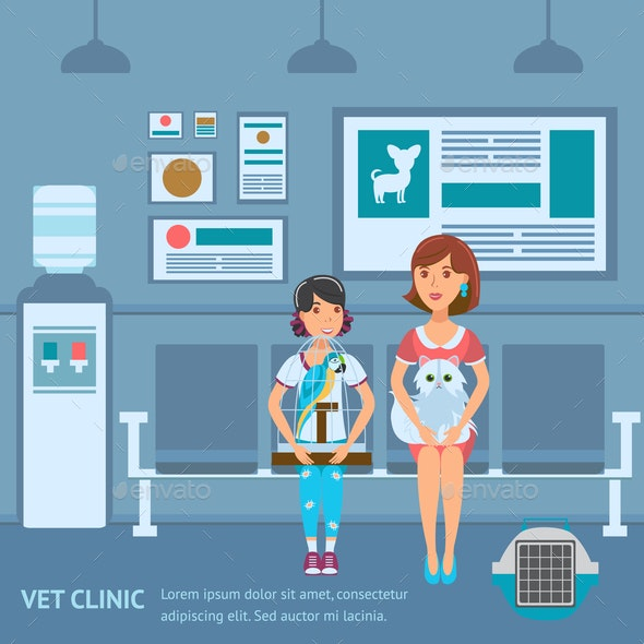Vet Clinic Queue Web Banner Vector Color Template - Animals Characters