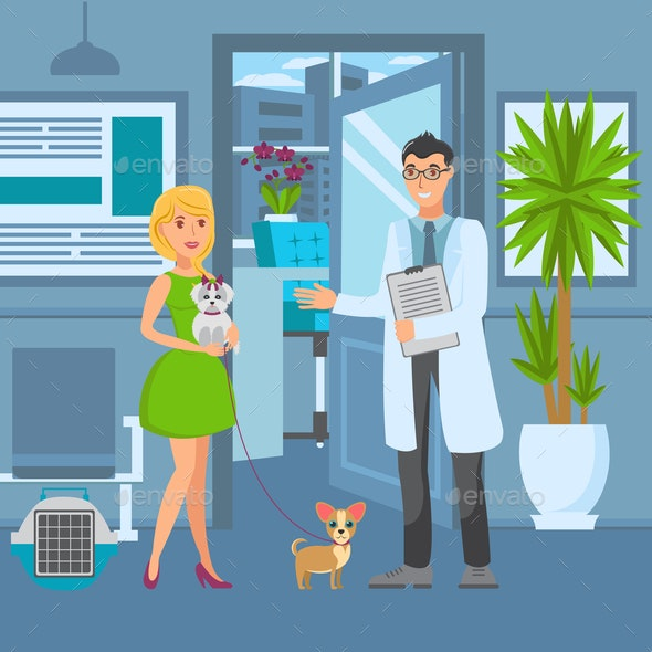 Veterinary Office Flat Vector Color Illustration - Animals Characters