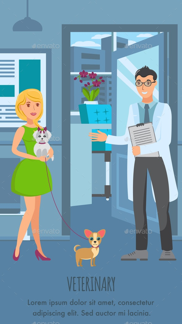 Veterinary Consultation Poster Vector Template - Animals Characters