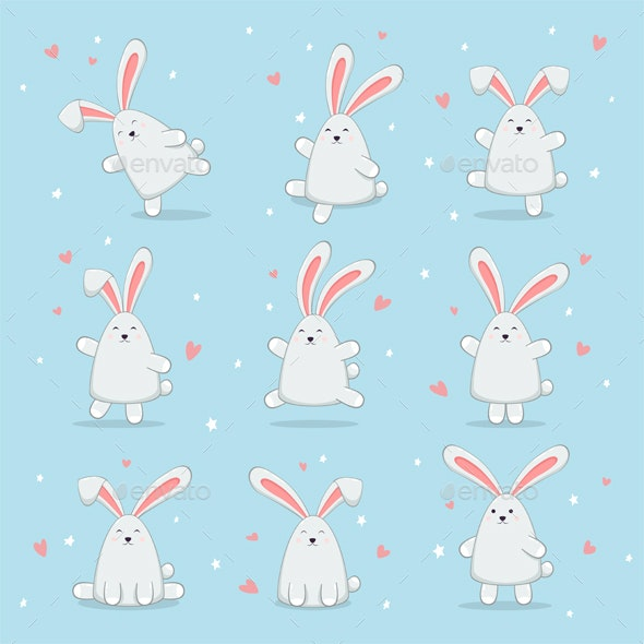 Set of Happy Easter Rabbits on Blue Background - Animals Characters