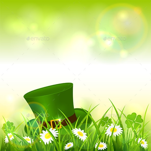 Patrick Day Green Nature Background with Leprechaun Hat - Miscellaneous Seasons/Holidays