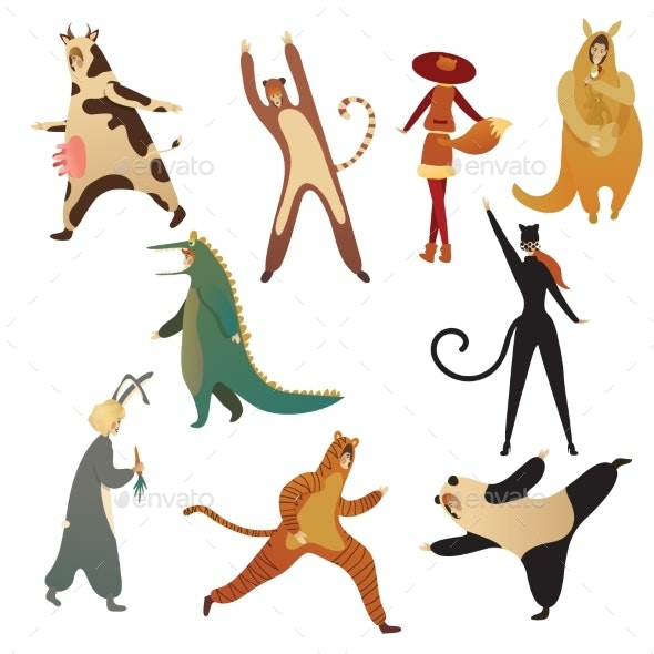 Flat Vector Set of Men and Women in Animal - People Characters