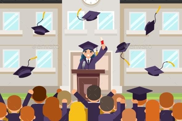 Female Graduate Tribune Speech Crowd Students - Miscellaneous Vectors