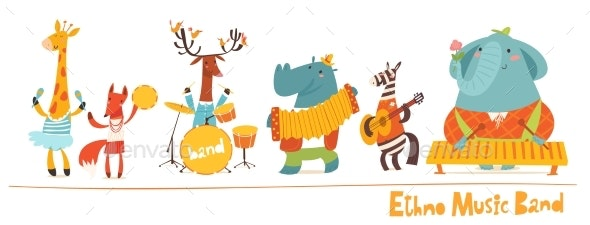 Vector Animals Musicians Vector Characters - Animals Characters