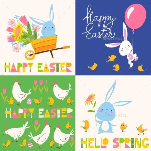 Set of Four Vector Easter Spring Posters - Miscellaneous Seasons/Holidays