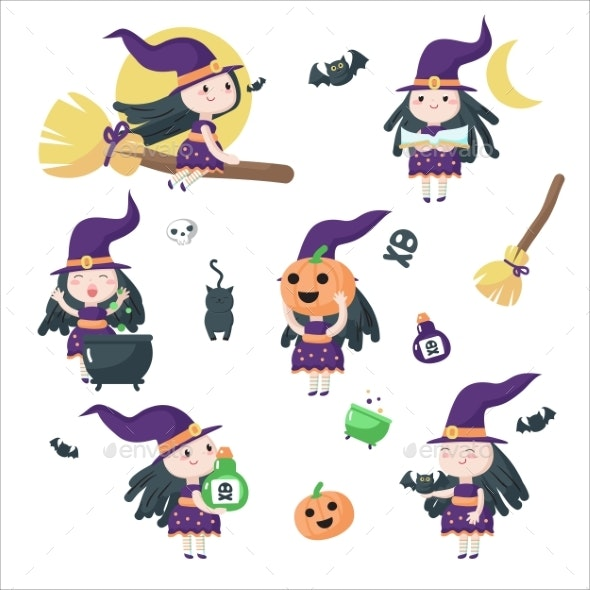 Halloween Witches Vector Isolated - Halloween Seasons/Holidays
