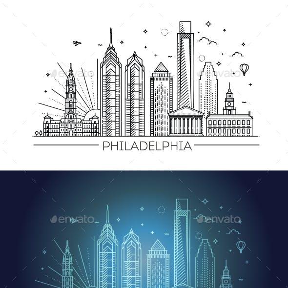 Philadelphia Pennsylvania USA Skyline with Panorama