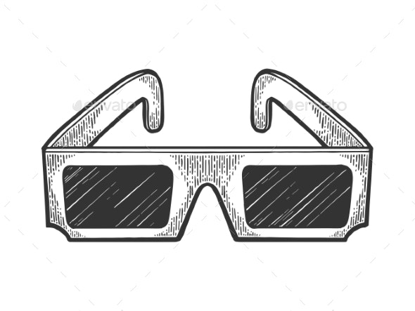 Anaglyph Glasses Sketch Engraving Vector - Miscellaneous Vectors
