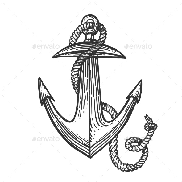 Anchor and Rope Engraving Style Vector - Miscellaneous Vectors