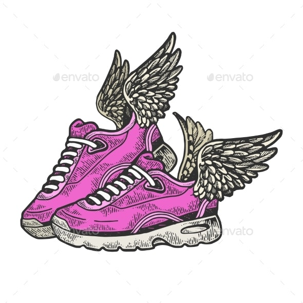 Sneakers with Wings Color Sketch Engraving Vector - Miscellaneous Vectors