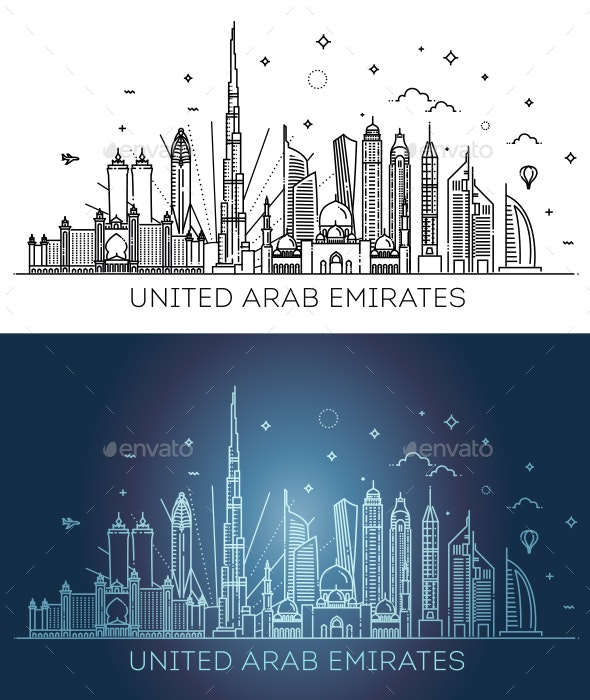 Linear Banner of United Arab Emirates - Buildings Objects