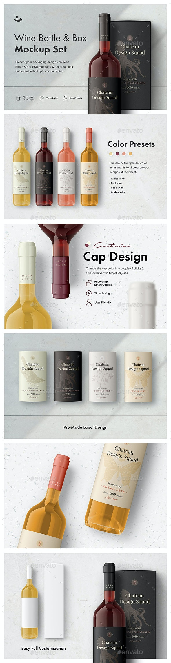 Essential Wine Bottle Mockup Set - Food and Drink Packaging