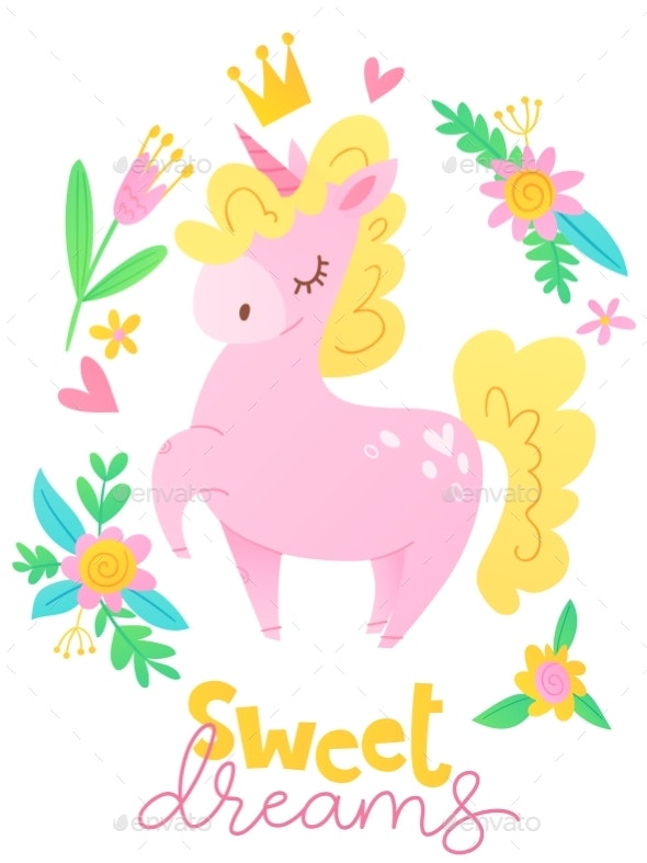 Vector Poster with Cartoon Unicorn - Animals Characters