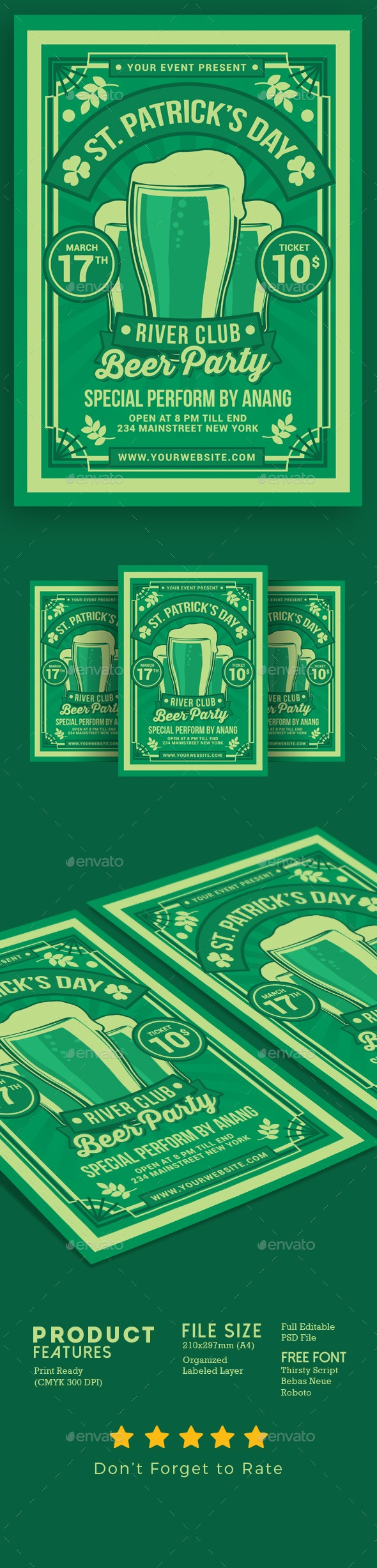 St. Patrick Day Beer Party - Events Flyers