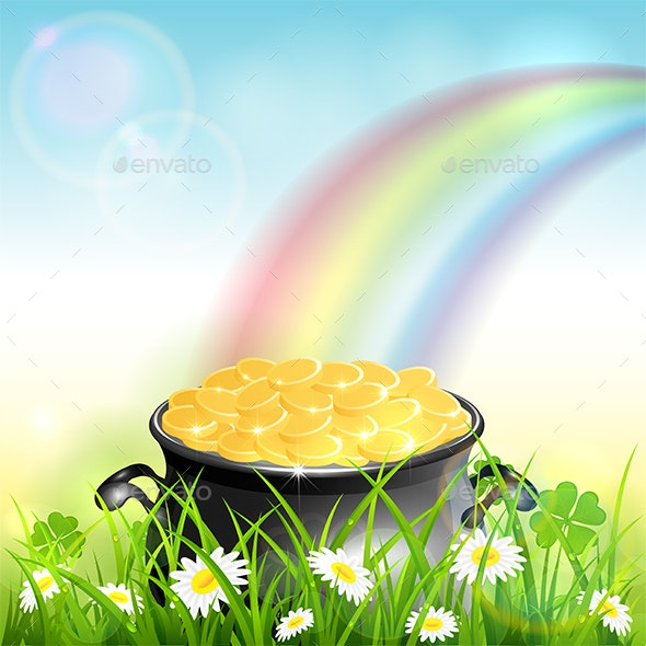 Patrick Day Rainbow on Blue Nature Background - Miscellaneous Seasons/Holidays