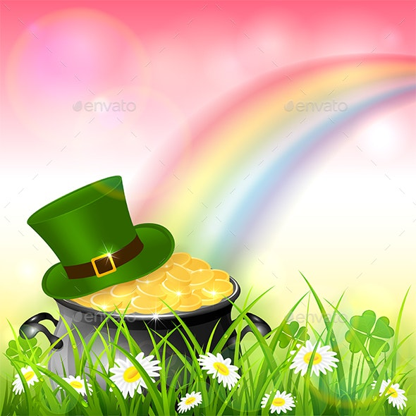 Patrick Day Rainbow on Pink Nature Background with Gold and Hat - Miscellaneous Seasons/Holidays