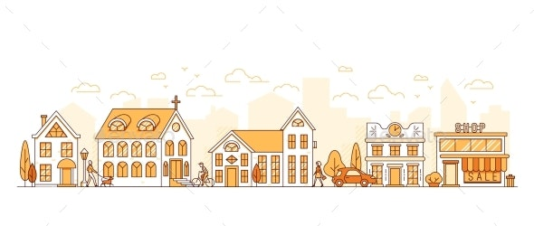 Line Art Cityscape Town Street with Houses - Buildings Objects
