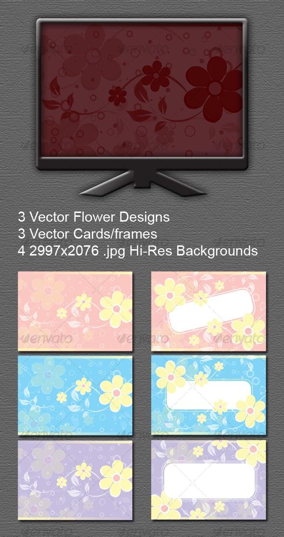 Floral Backgrounds / Cards - Frames / Vector  - Backgrounds Decorative