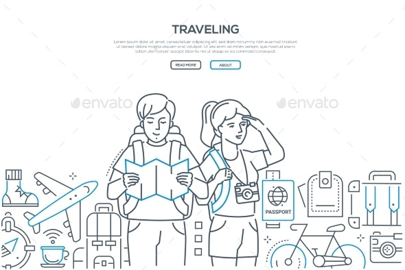 Traveling - Line Design Style Vector Web Banner - Travel Conceptual