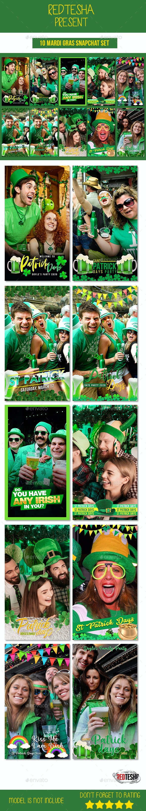 10 St Patrick Days Snapchat Set - Social Media Web Elements