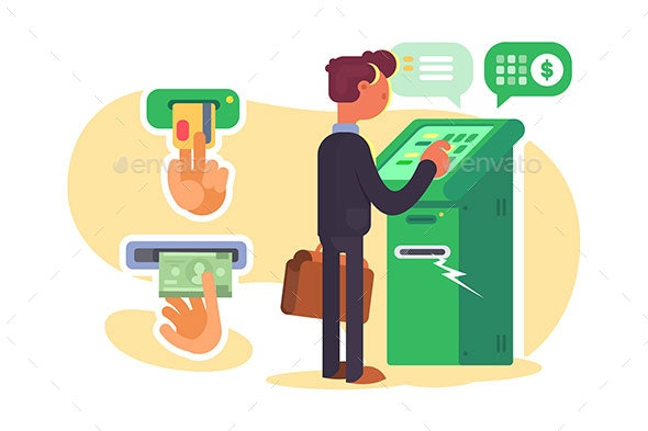 Boy Taking Cash From ATM - Concepts Business