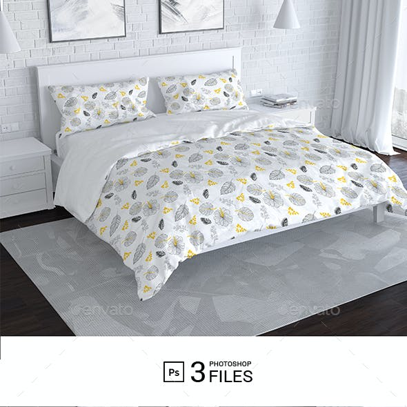 Bedroom and Bed Linen Mockup
