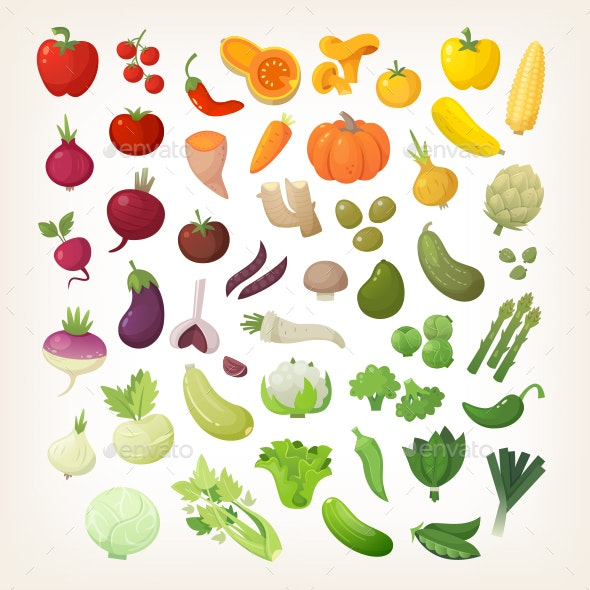Set of Common Vegetables Organized in Rainbow Layout - Food Objects