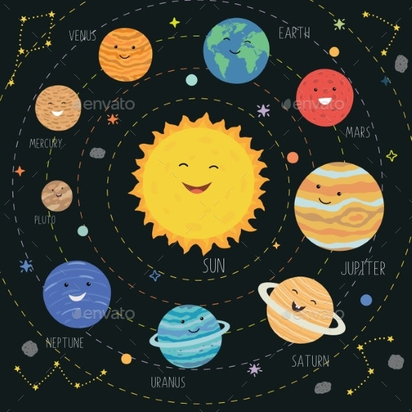 Planets with Smiling Faces - Miscellaneous Vectors