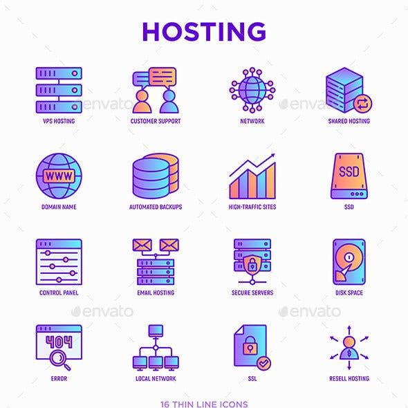 Hosting | 16 Thin Line Icons Set