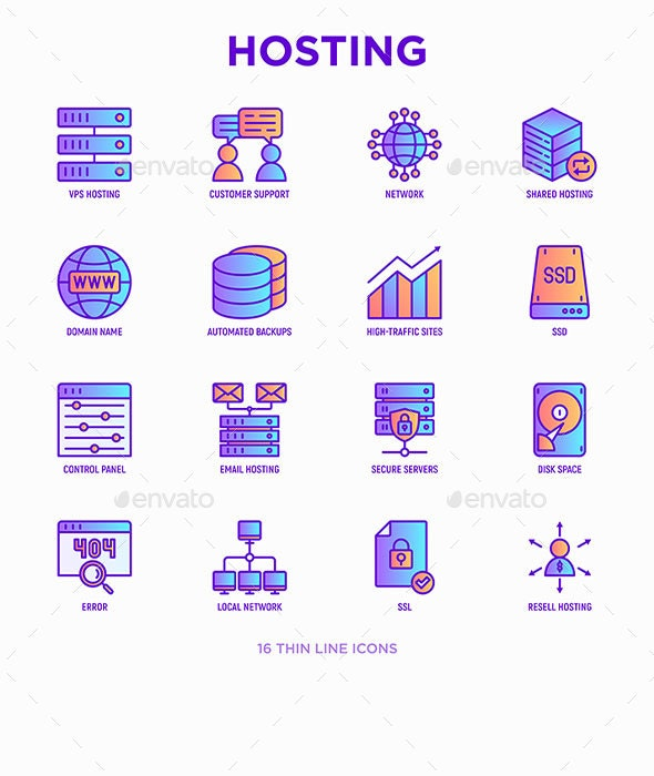 Hosting | 16 Thin Line Icons Set - Technology Icons