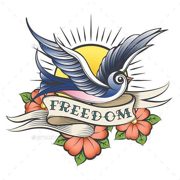 Old School Tattoo with Bird and Wording Freedom - Tattoos Vectors