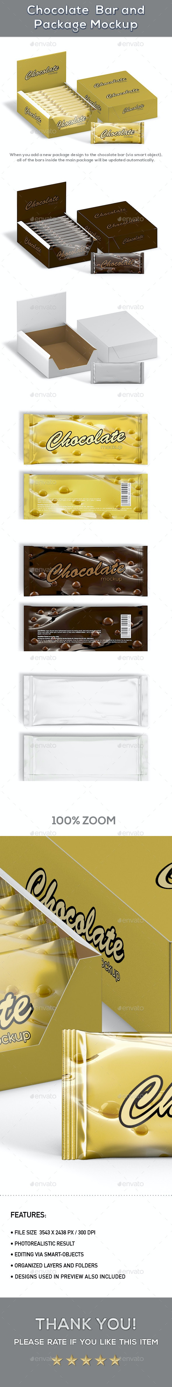 Chocolate Bar And Package Mockup - Product Mock-Ups Graphics