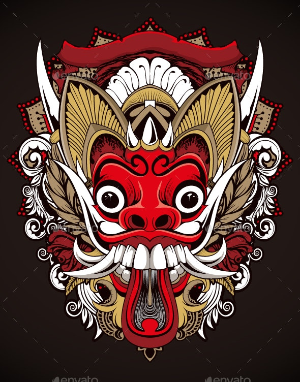 Canine Monster Head Illustration - Miscellaneous Characters