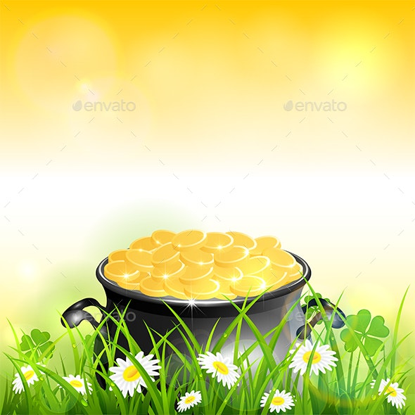 Patrick Day on Yellow Nature Background with Leprechauns Gold - Miscellaneous Seasons/Holidays