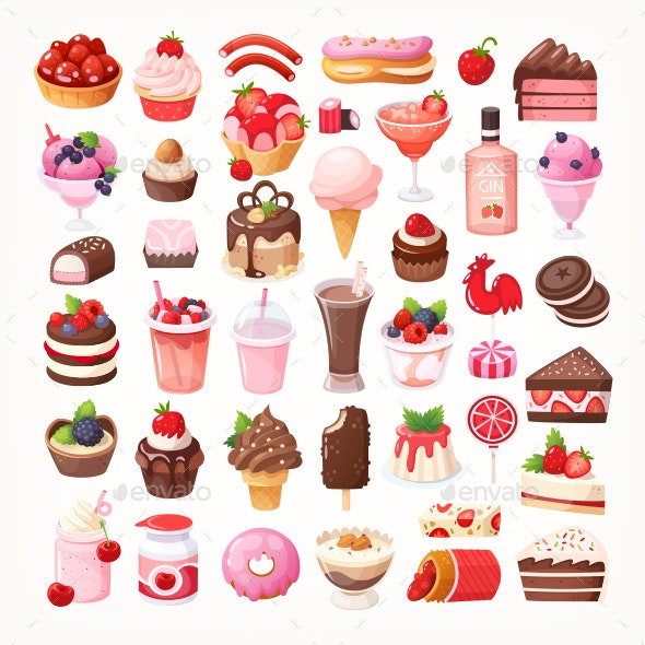 Collection of Desserts with Chocolate and Fruit - Food Objects