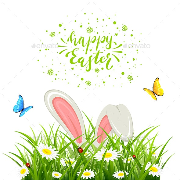 Easter Rabbit in Grass with Butterflies on White Background - Animals Characters