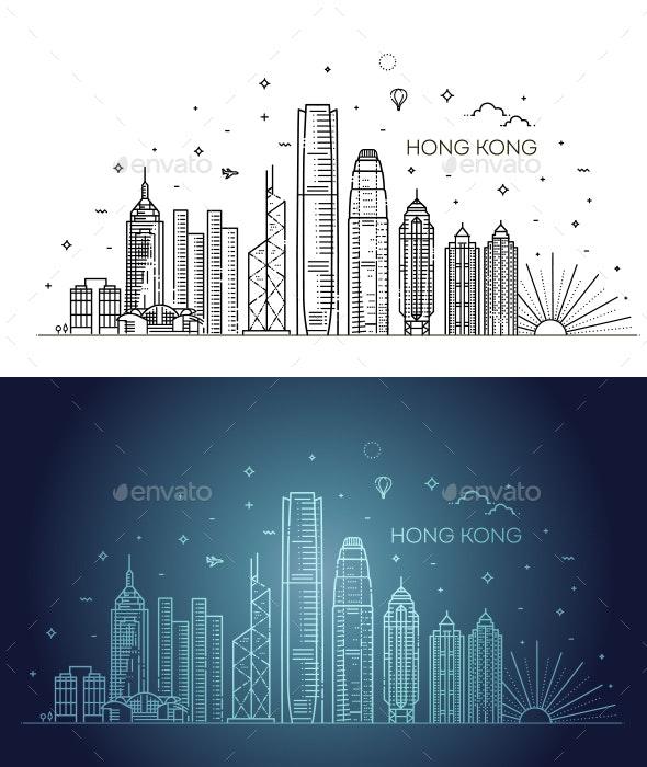 Hong Kong Skyline - Buildings Objects