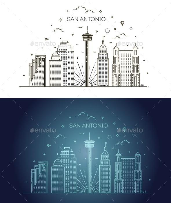 San Antonio City Skyline Vector Background - Buildings Objects