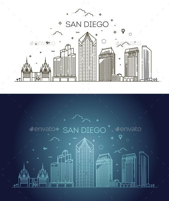 Linear San Diego City Skyline Vector Background - Buildings Objects
