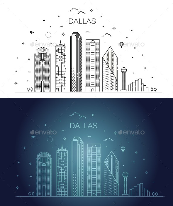 Texas Dallas Architecture Line Skyline Illustration - Buildings Objects