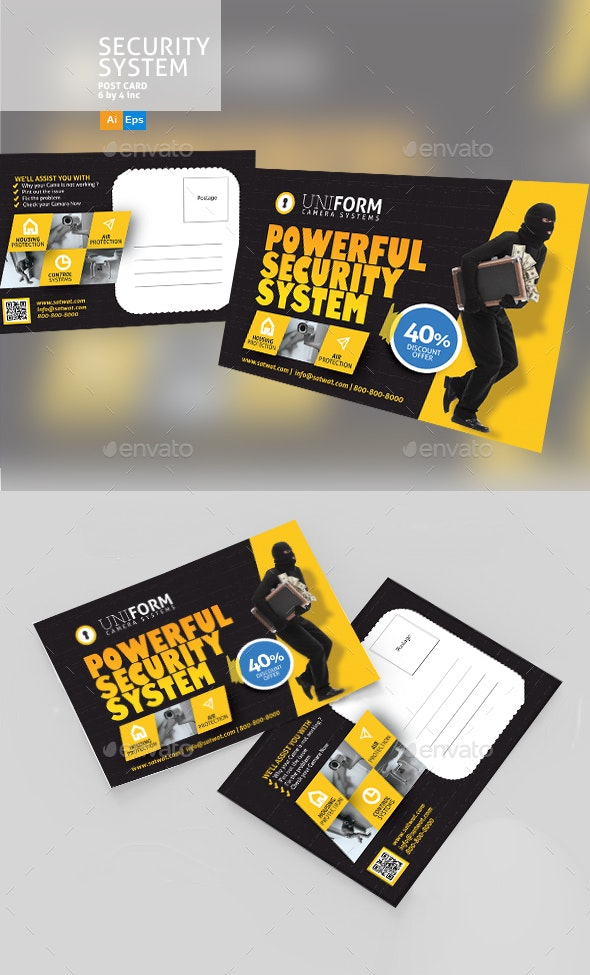 Security Systems PostCard Template - Cards & Invites Print Templates