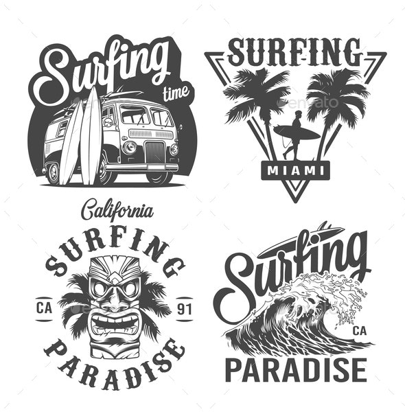 Vintage Surfing Labels - Miscellaneous Vectors