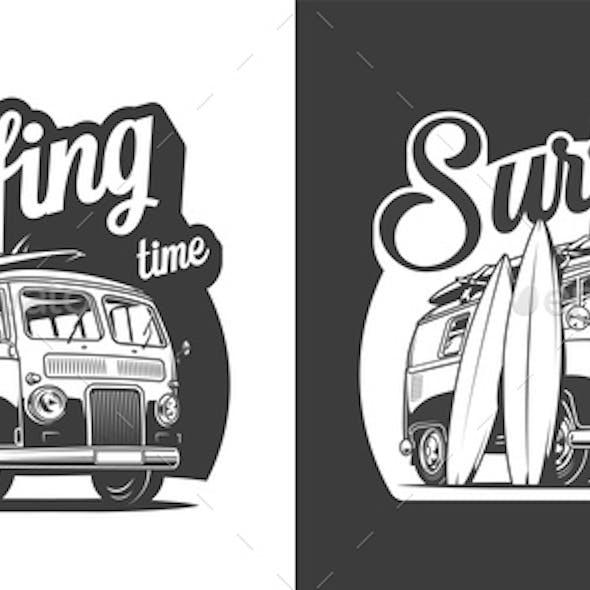 Vintage Surfing Label
