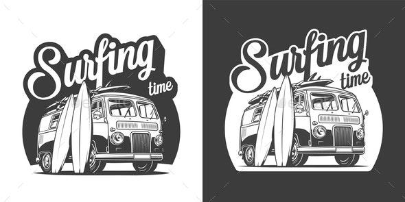 Vintage Surfing Label - Miscellaneous Vectors