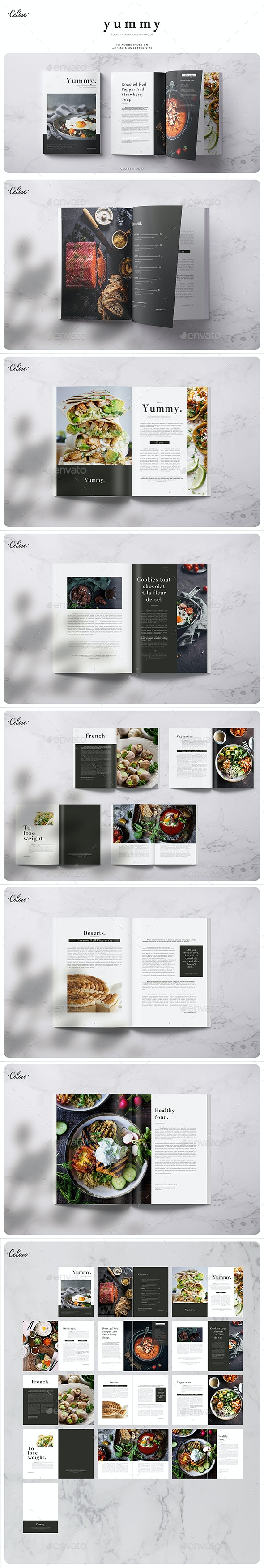 Yummy - Food Lookbook Template - Magazines Print Templates